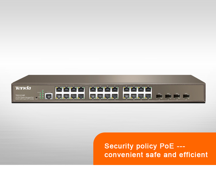 TEG3224P 24-Port 10/100/1000Mbps with 4 Shared SFP PoE Managed Switch